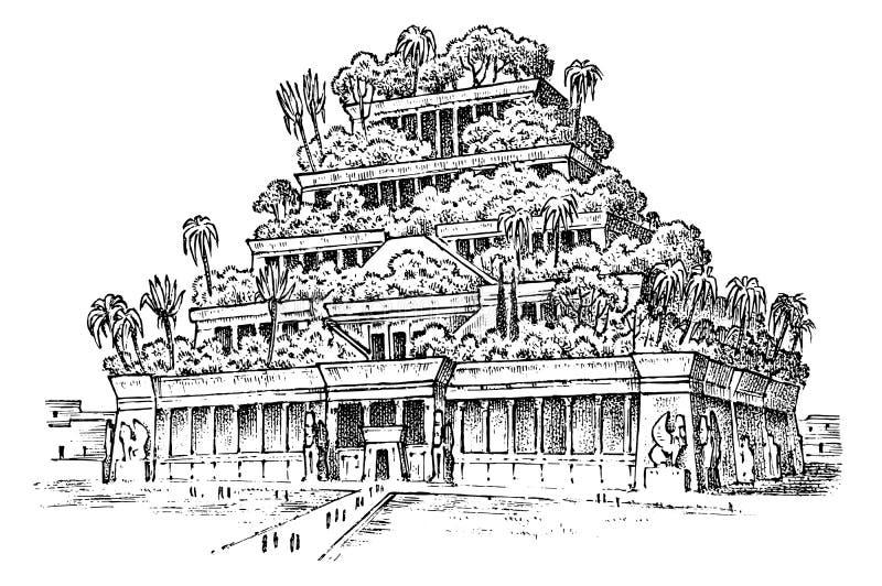 Sete maravilhas do mundo antigo Jardins de suspens?o de Babylon A grande construção dos Assyrians M?o desenhada ilustração royalty free