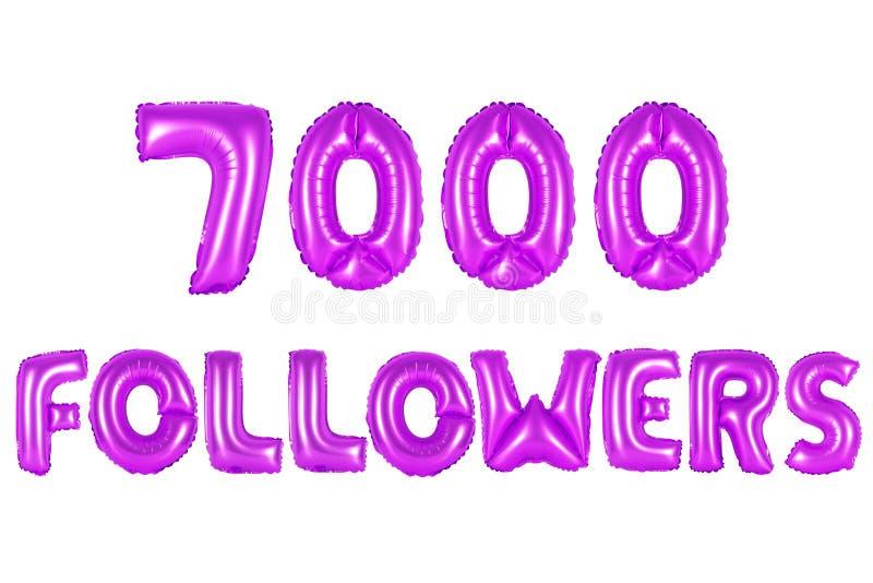 Sete mil seguidores, cor roxa fotos de stock