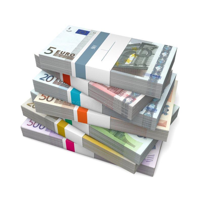 Sete pacotes de euro- notas com envoltório do banco ilustração royalty free