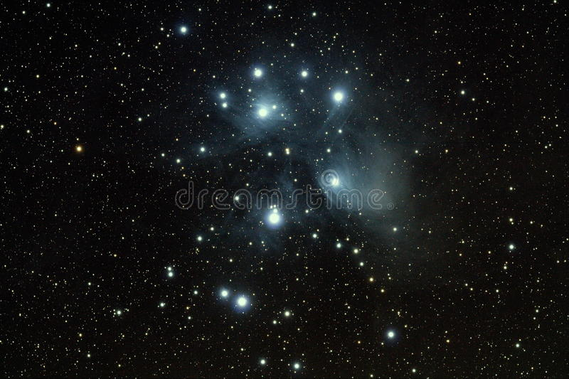 Sete Pleiads das irmãs fotografia de stock