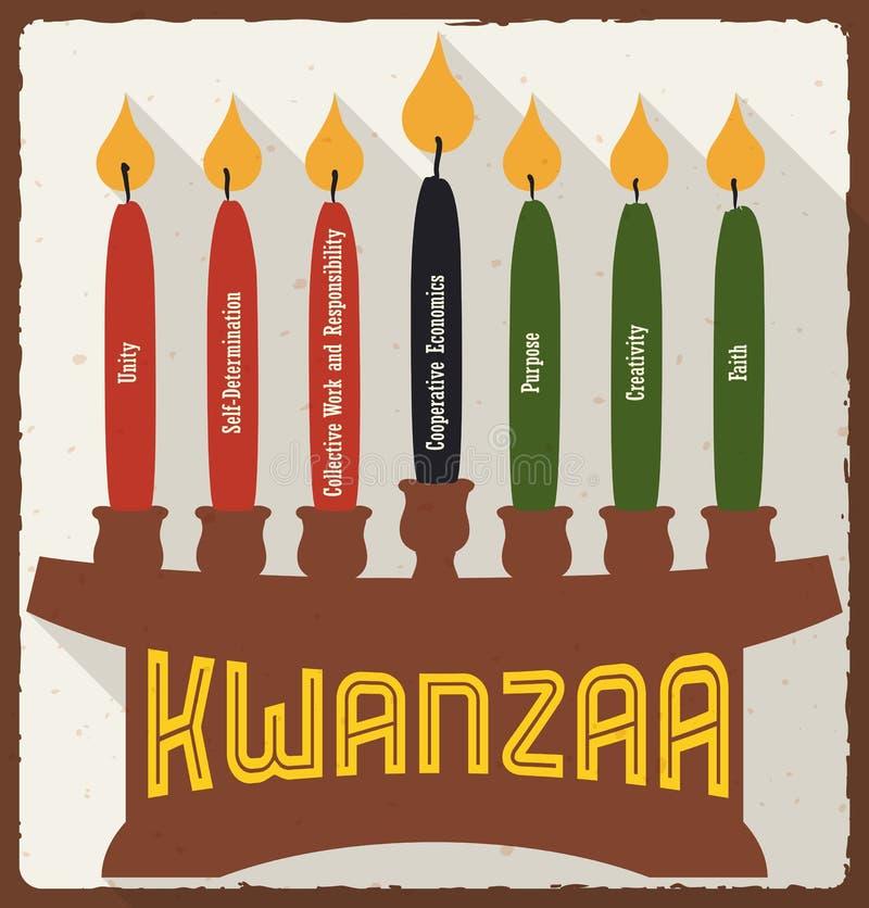 Sete princípios e velas para Kwanzaa no estilo liso, ilustração do vetor ilustração stock