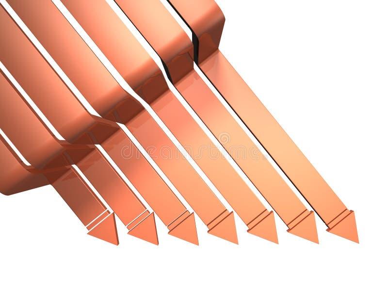 Sete setas que representam a diminuição. ilustração do vetor