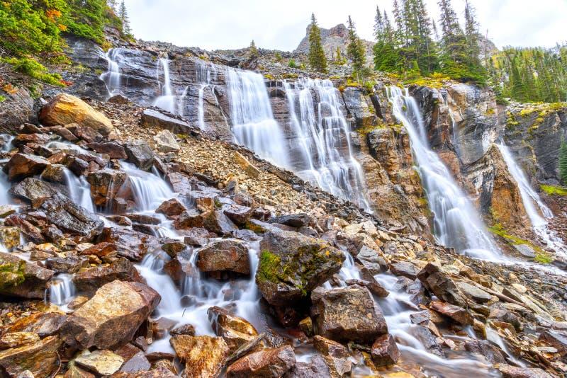 Sete Veils Falls no lago O'Hara nas Rockies canadenses do Parque Nacional Yoho foto de stock