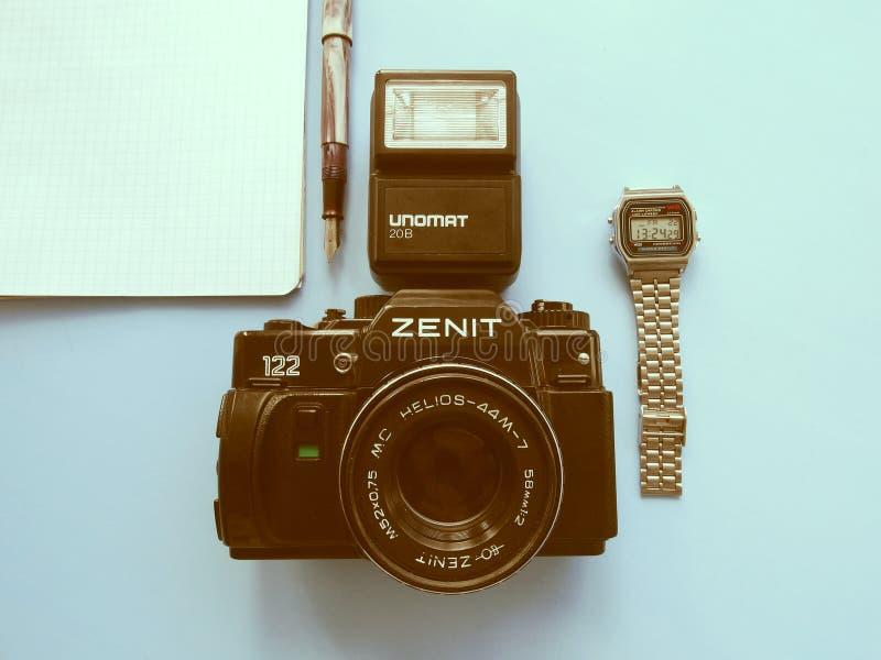 setembro, 22, 2017 Arzamas, zênite velho da câmera de Rússia fotografia de stock royalty free