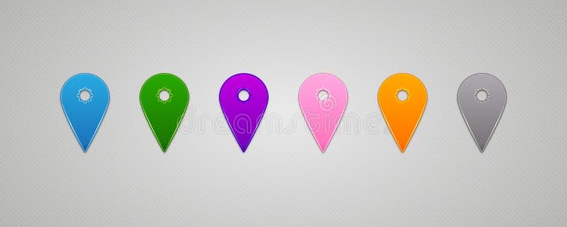 Seten av den färgrika översikten för vektorn Pins pekaren vektor illustrationer