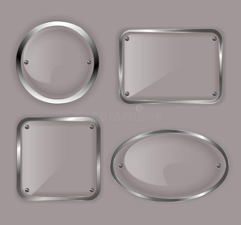 Seten av glass plattor i metall inramniner illustrationen vektor illustrationer