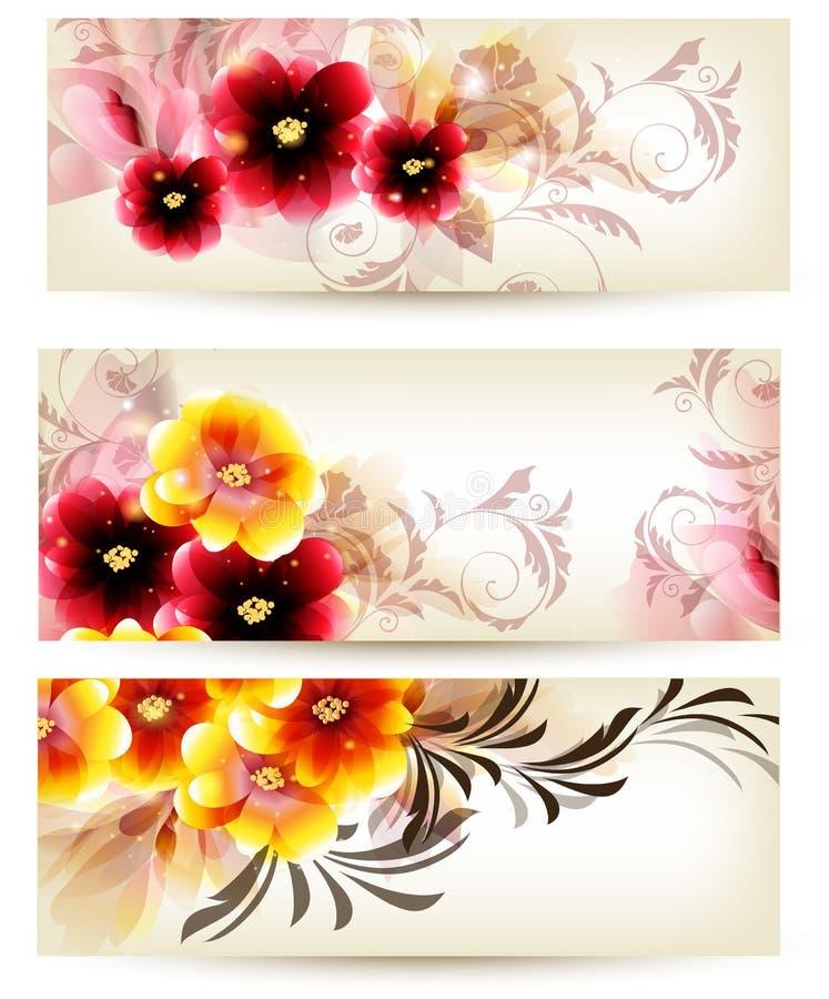 Seten av tre baner dekorerade vid vektorblommor vektor illustrationer