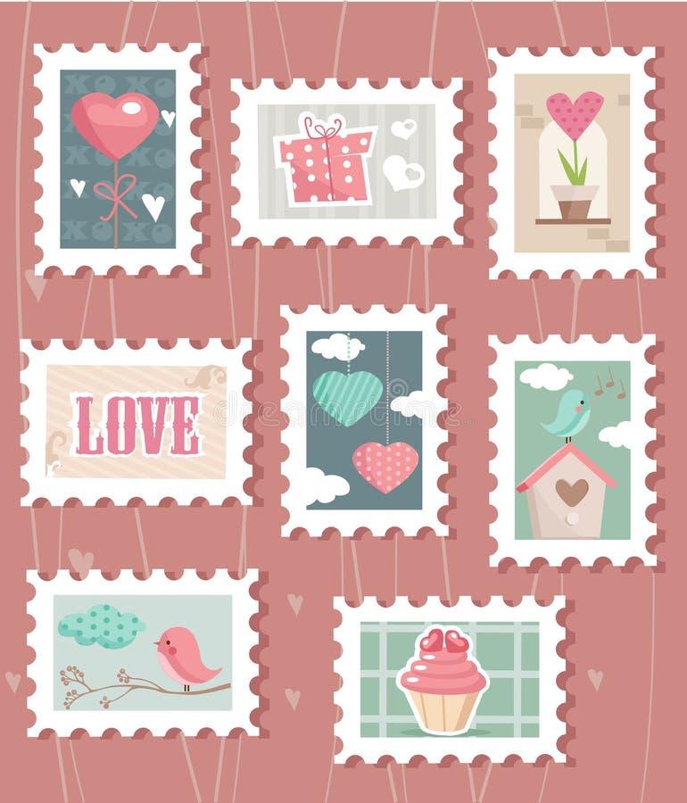 seten för dagporto s stämplar valentinen vektor illustrationer