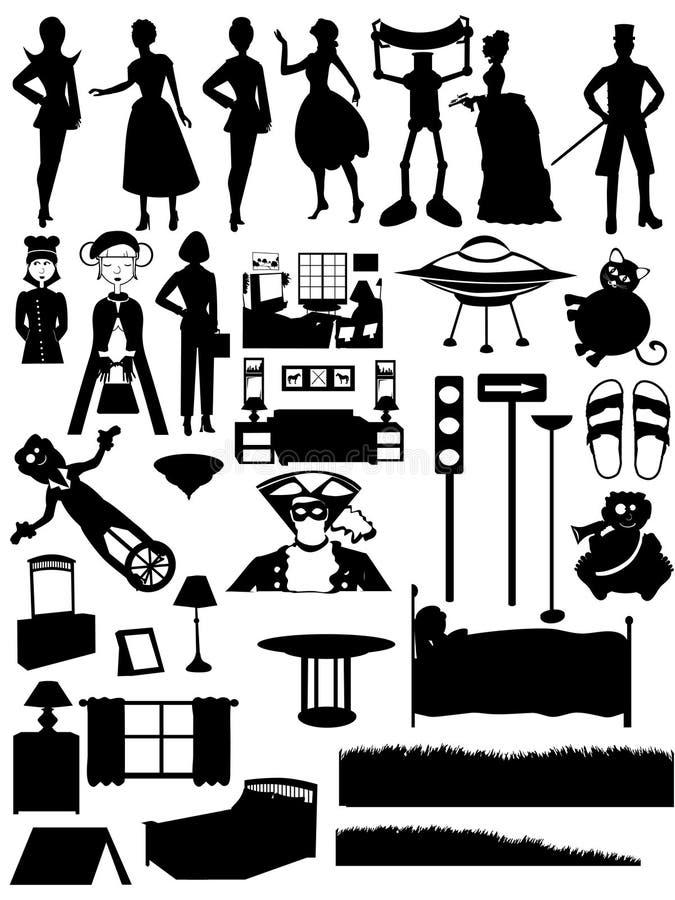 seten silhouettes den på måfå för furnitufolk steampunk royaltyfri illustrationer