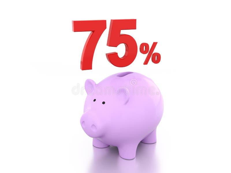 Setenta cinco por cento com leitão ilustração royalty free