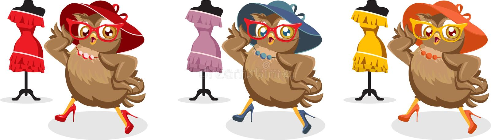 Seth Fashion illustration owl in hat and sunglasses. Set of three illustrations Fashion owl wearing a hat and sunglasses vector illustration