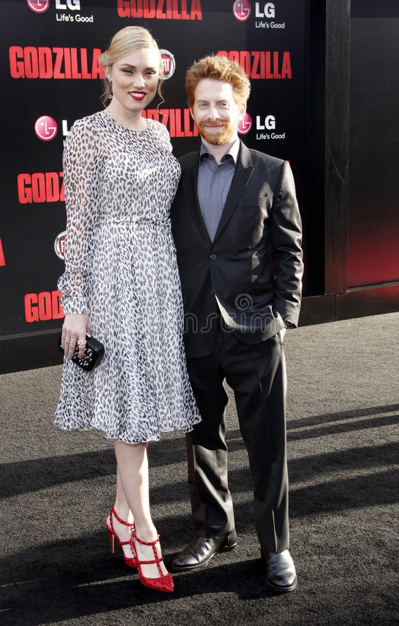 Seth Green and Clare Grant. At the Los Angeles premiere of Godzilla held at the Dolby Theatre in Los Angeles on May 8, 2014 in Los Angeles, California royalty free stock photos