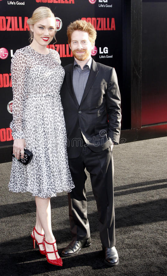 Seth Green and Clare Grant. At the Los Angeles premiere of Godzilla held at the Dolby Theatre in Los Angeles on May 8, 2014 in Los Angeles, California royalty free stock image