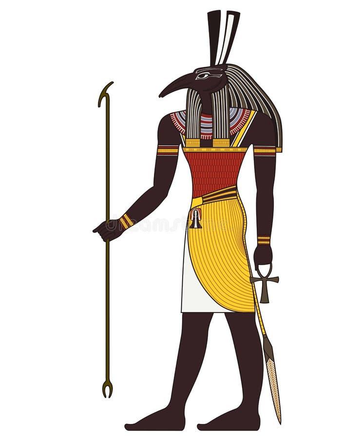 Seth isolerat diagram av den forntida Egypten guden stock illustrationer