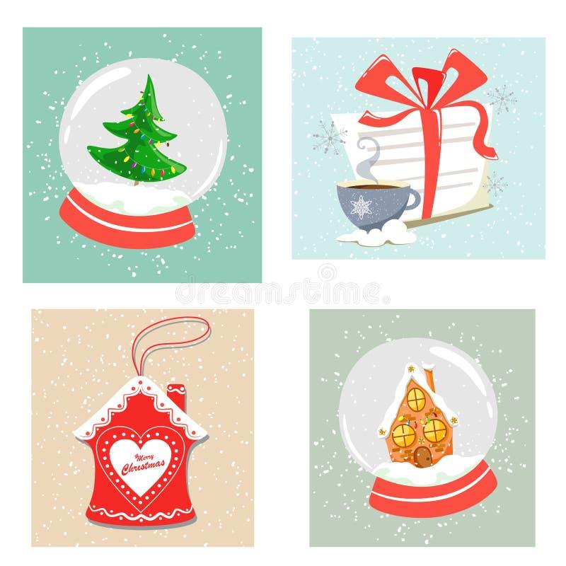 Seth kawałków bożych narodzeń wystrój Bożenarodzeniowe śnieżne kule ziemskie, list Święty Mikołaj, piernikowy dom w glazerunku Mi ilustracja wektor