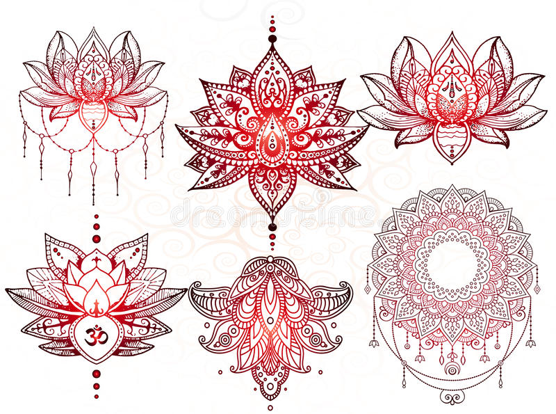 Seth mandala tattoo, Lotus vector illustration
