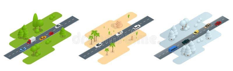 Seth que consiste na estrada isométrica no verão, estrada de três imagens no deserto ilustração stock