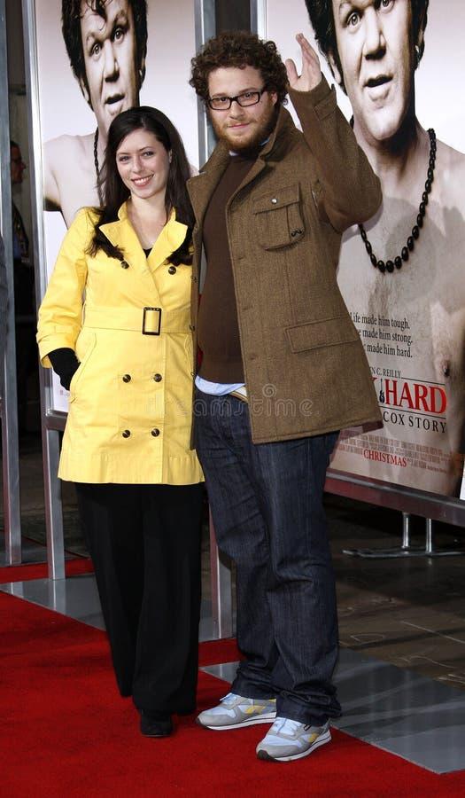 Seth Rogen och Lauren Miller royaltyfria foton