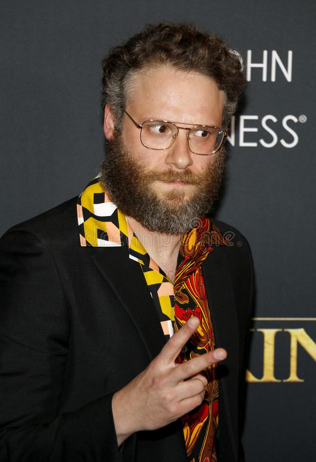 Seth Rogen. At the World premiere of `The Lion King` held at the Dolby Theatre in Hollywood, USA on July 9, 2019 stock photo