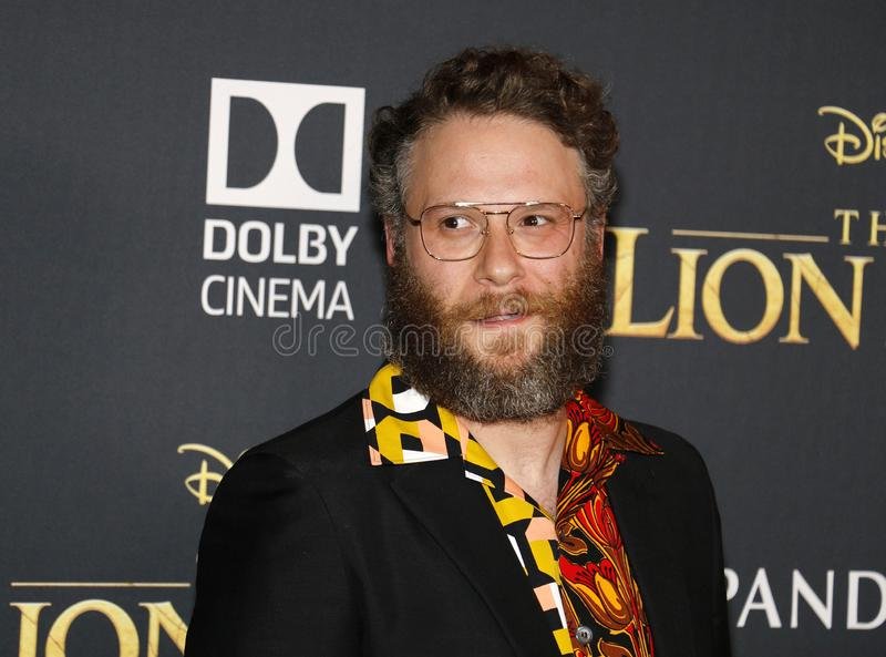 Seth Rogen. At the World premiere of `The Lion King` held at the Dolby Theatre in Hollywood, USA on July 9, 2019 stock photos