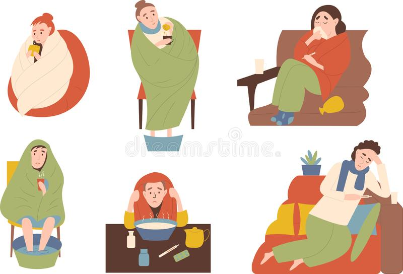 Seth of sick people. Treatments by warming, inhalation and warming the legs. Symptoms runny nose, fever, headache. royalty free illustration