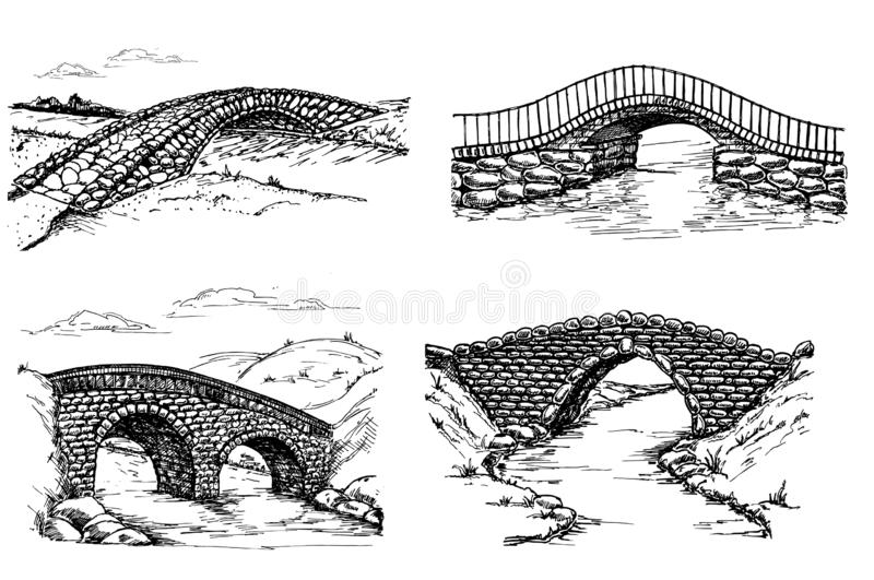 Seth of stone bridges over the river, drawing sketch royalty free illustration