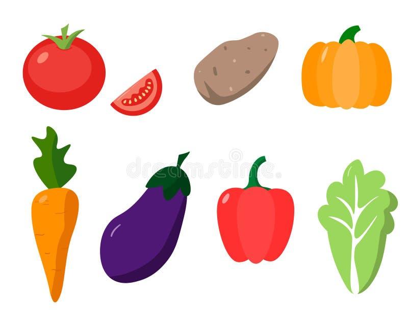 Seth verse organische groenten, illustratie royalty-vrije illustratie