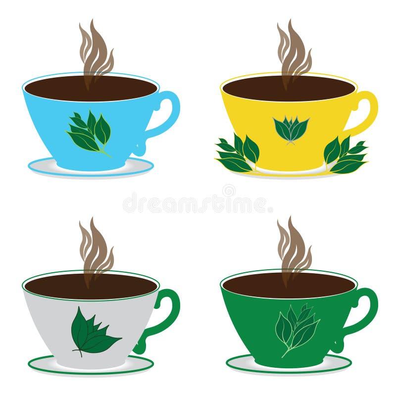 Seth vier theekoppen verschillende kleuren met hete zwarte thee en theebladen op een witte achtergrond stock illustratie