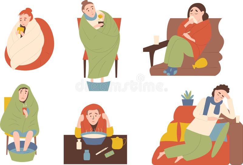 Seth von kranken Leuten Behandlungen durch die Erwärmung, Einatmung und die Erwärmung der Beine Symptomlaufende nase, Fieber, Kop stockbild