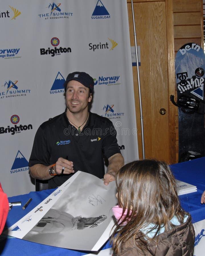 Seth Wescott siging Autograph stockbild