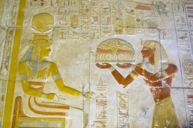 Seti Offering Food To The Goddess Hathor Royalty Free Stock Photos