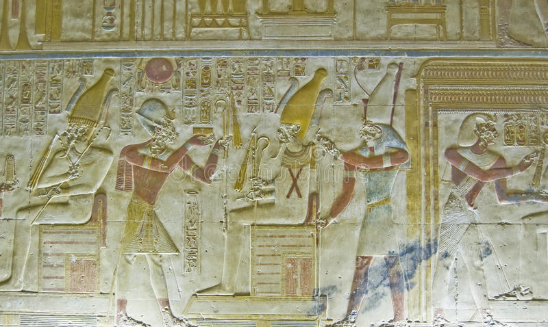 Download Seti With Osiris Bas Relief Stock Photo - Image of deity, hieroglyphic: 27119758