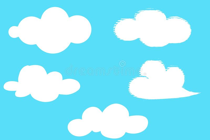 Set of white clouds on blue background. Setof white clouds blue background view collection shape outdoor simple creative cartoon nature element heaven fluffy vector illustration