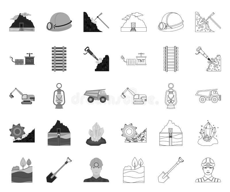 Setor mineiro mono, ícones do esboço em coleção ajustada para o projeto Web do estoque do s?mbolo do vetor do equipamento e das f ilustração royalty free