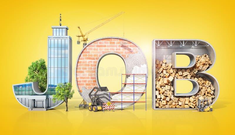 Setores de atividade diferentes no formulário do trabalho da palavra ilustração 3D ilustração do vetor