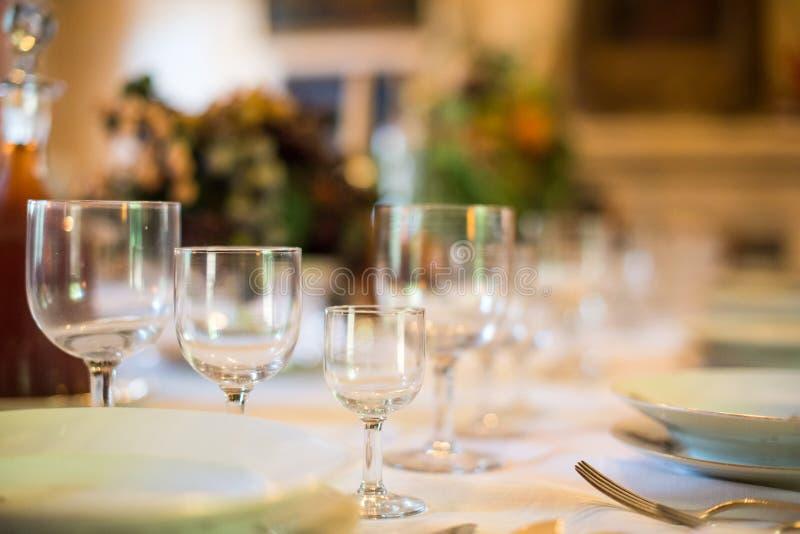 Setout table with tableware. Setout table with tableware in modern restaurant stock images