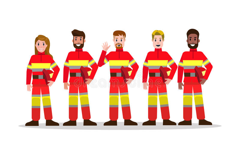Sets of Firefighting team. flat Fireman character design. vector royalty free illustration