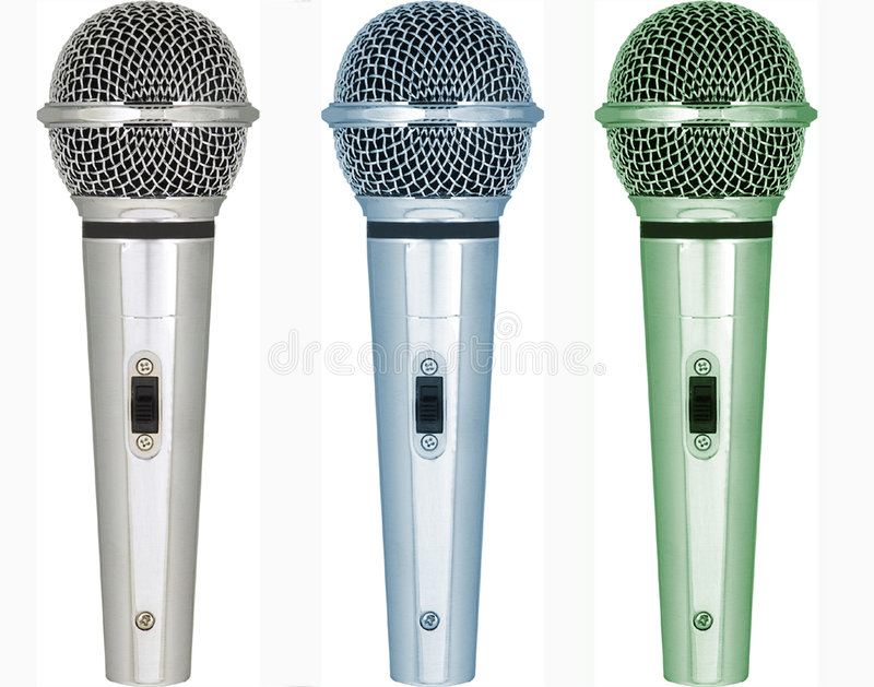 Sets of microphones with different tones of color stock images