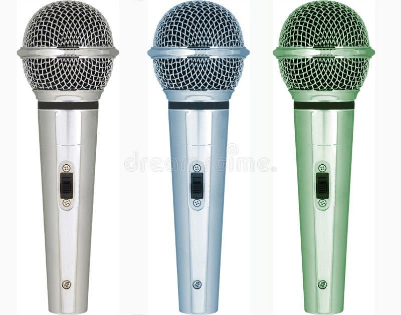 Download Sets Mikrophone Mit Verschiedenen Tönen Der Farbe Stockfoto - Bild von journalismus, sendung: 9084784