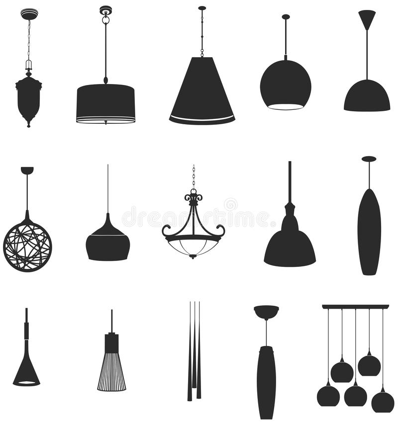 Free Sets Of Silhouette Lamps 2, Create By Vector Stock Images - 35685864