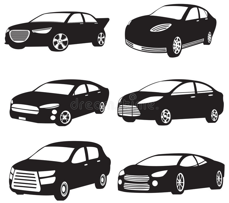 Sets of silhouette of my original model cars royalty free illustration