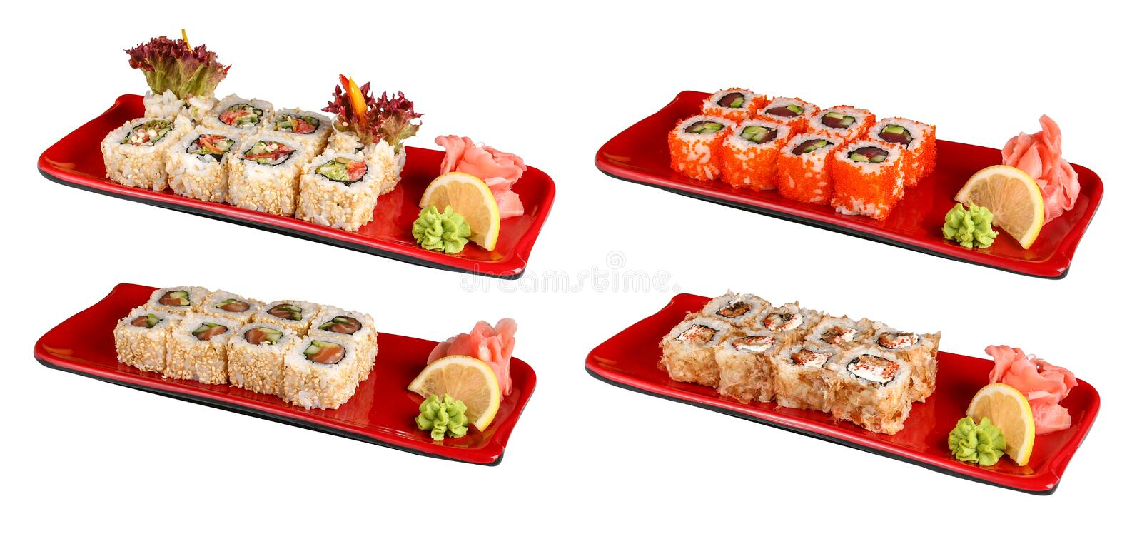 Sets of sushi rolls in red plates. On a white background stock photos