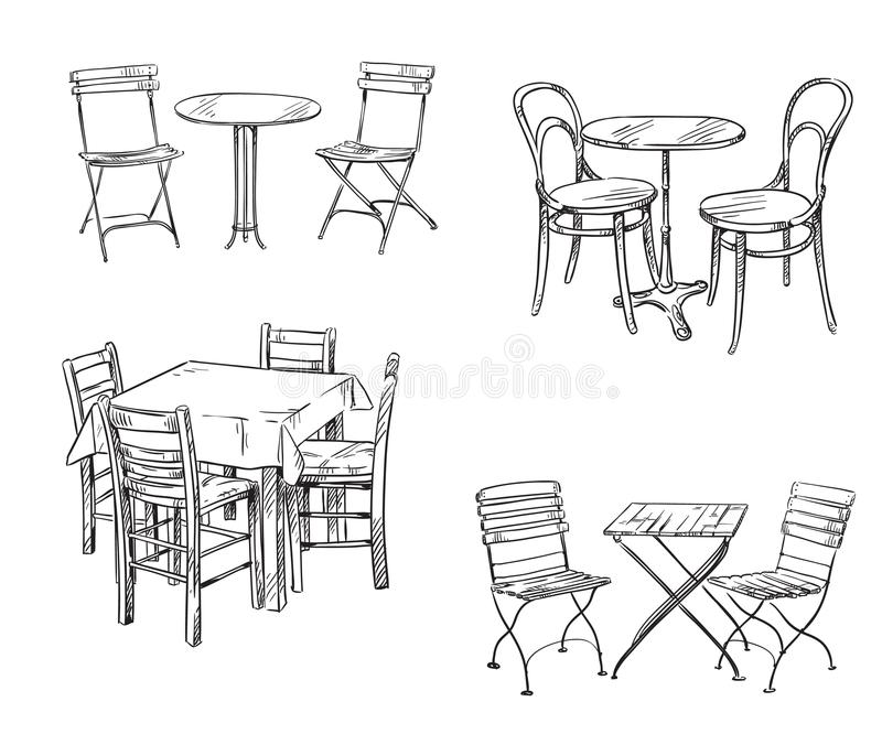 Sets of tables and chairs. Furniture sketch. Sets of tables and chairs. Furniture sketch vector illustration