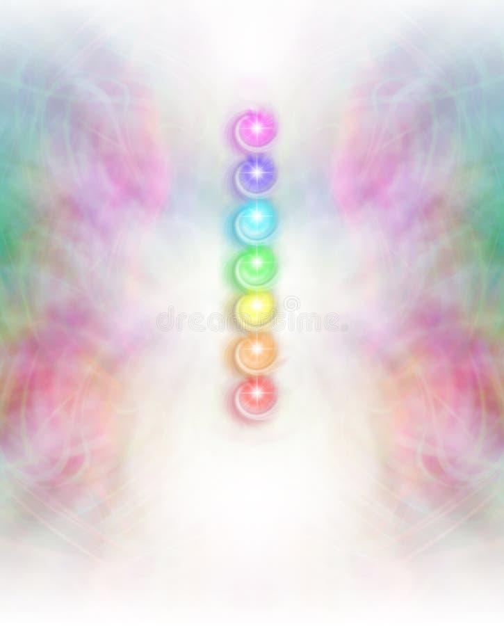 Sette Chakras nel fondo sottile del campo di energia illustrazione di stock