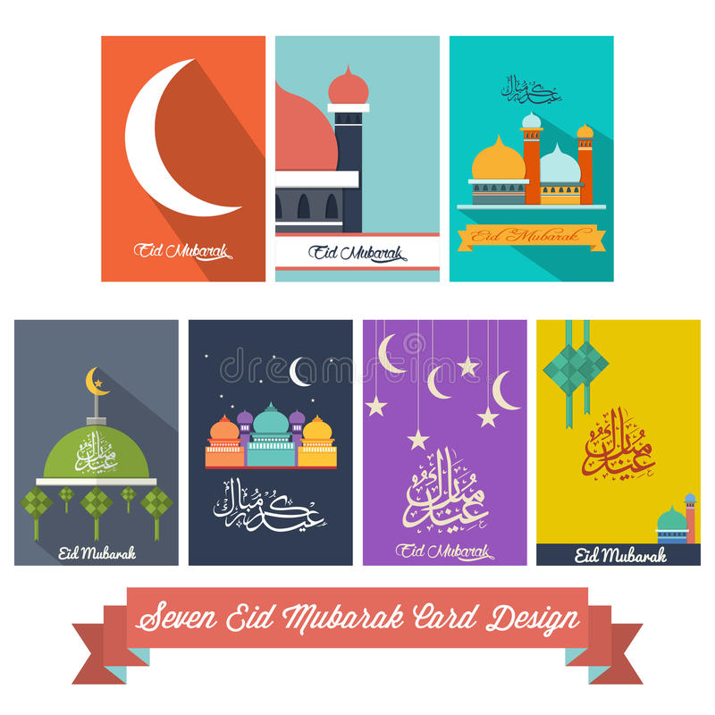 Sette Eid Mubarak Flat Design Card royalty illustrazione gratis