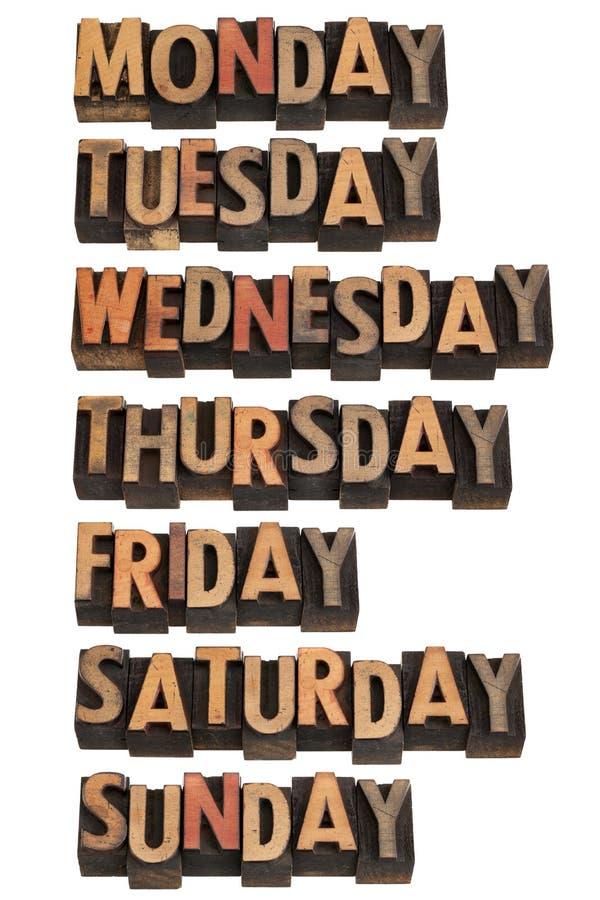 Sette giorni della settimana fotografie stock libere da diritti