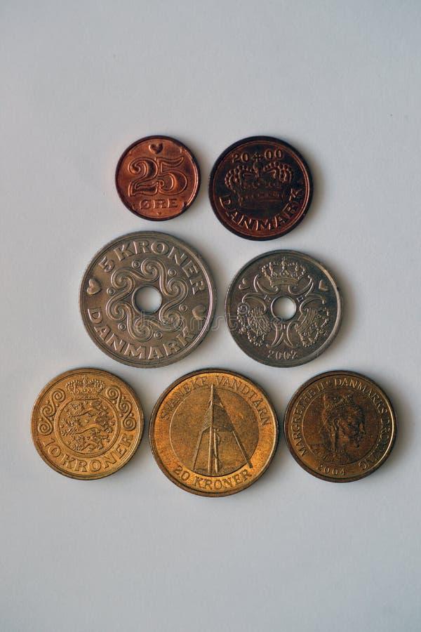 Sette monete dalla Danimarca fotografia stock libera da diritti