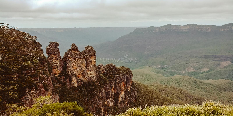 Sette sorelle e montagne blu, Australia fotografia stock