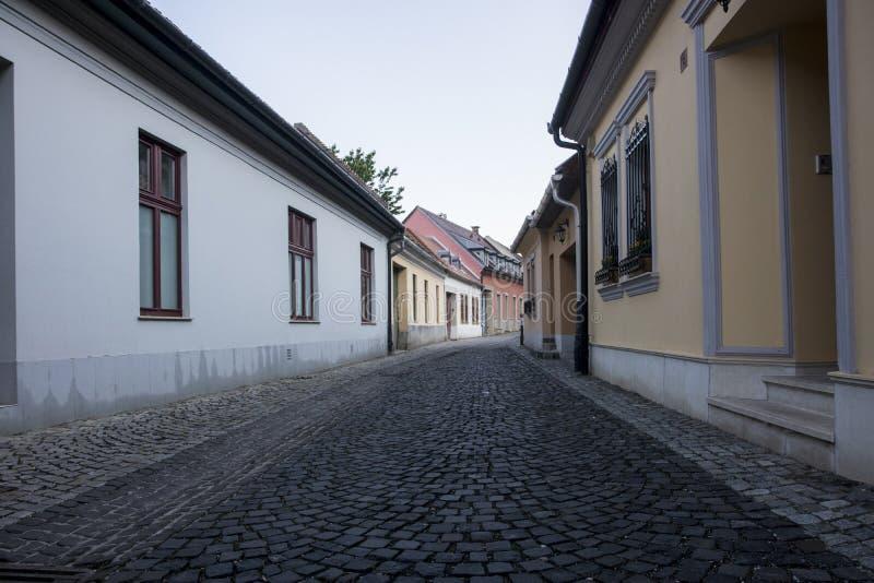 Setted gata med små hus arkivfoton