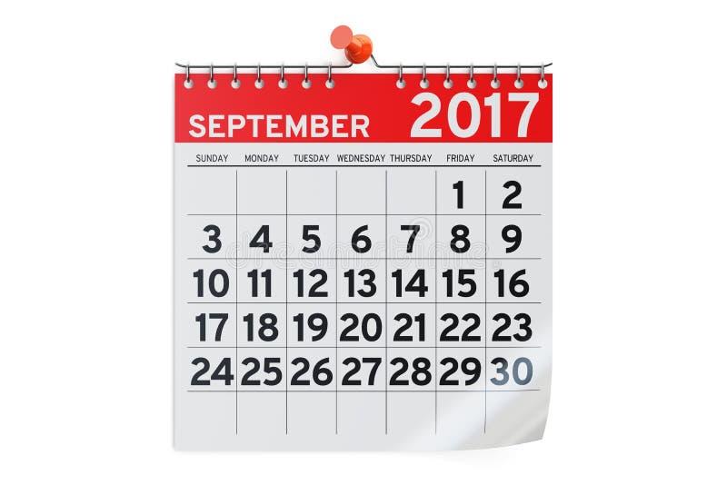 Settembre 2017 calendario, rappresentazione 3D illustrazione vettoriale